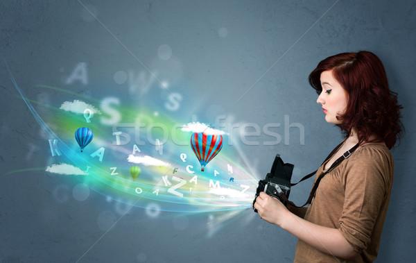 Fotoğrafçı kamera soyut hayali sevimli kız Stok fotoğraf © ra2studio