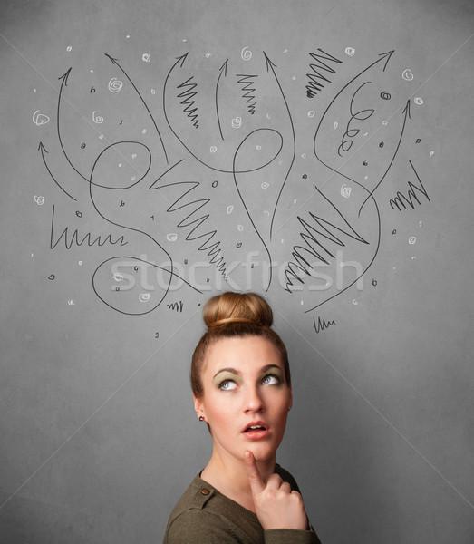 мышления Стрелки голову довольно женщину Сток-фото © ra2studio