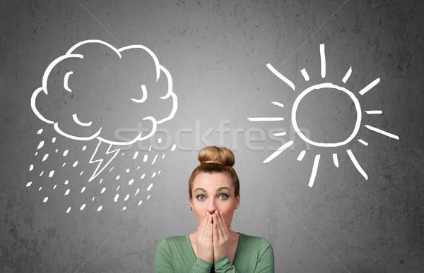 Mulher em pé sol chuva desenho bastante Foto stock © ra2studio