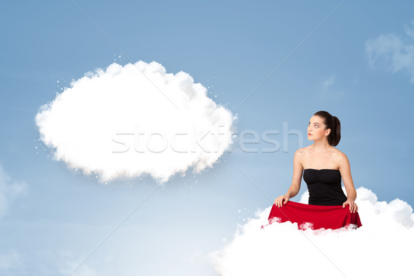 Young girl sitting on cloud and thinking of abstract speech bubb Stock photo © ra2studio