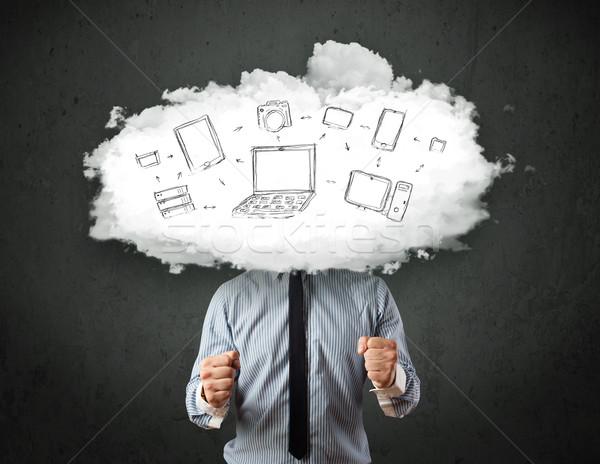 Professionele zakenman cloud-netwerk hoofd internet technologie Stockfoto © ra2studio