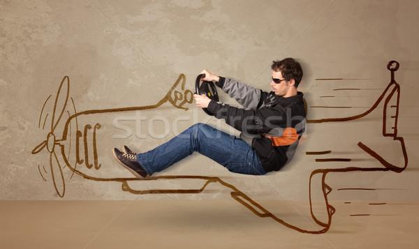 ストックフォト: 面白い · パイロット · 運転 · 手描き · 飛行機 · 壁