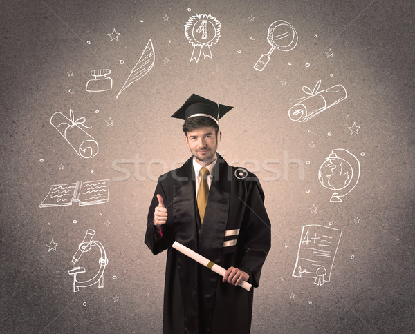 Gelukkig afgestudeerde tiener school iconen Stockfoto © ra2studio