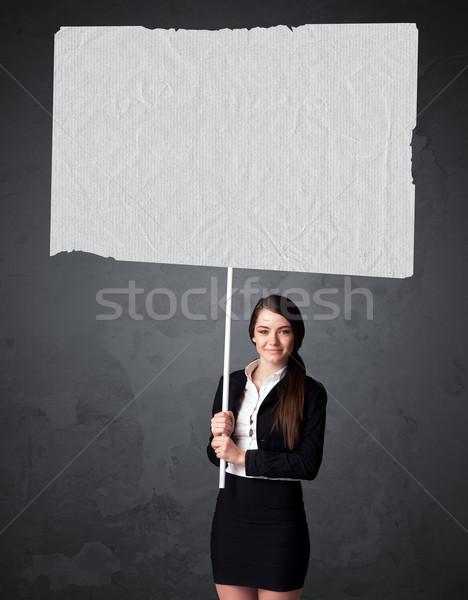 деловая женщина буклет бумаги молодые большой Сток-фото © ra2studio