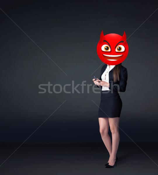 Femeie de afaceri diavol amuzant afaceri zâmbet Imagine de stoc © ra2studio