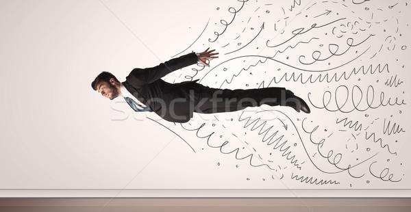 деловой человек Flying рисованной линия из бизнеса Сток-фото © ra2studio