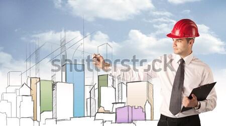 Construction worker planning a city sight Stock photo © ra2studio