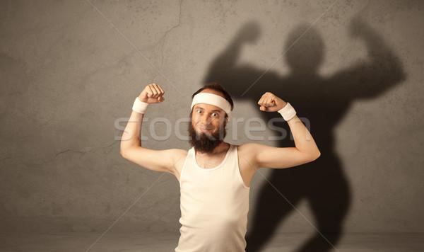 Sovány férfi árnyék vicces fiatal fickó Stock fotó © ra2studio
