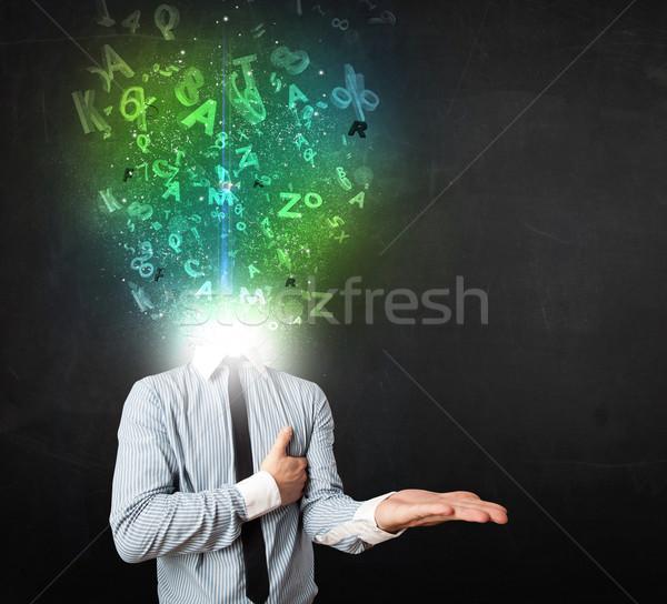 Stockfoto: Zakenman · abstract · brieven · hoofd · gezicht