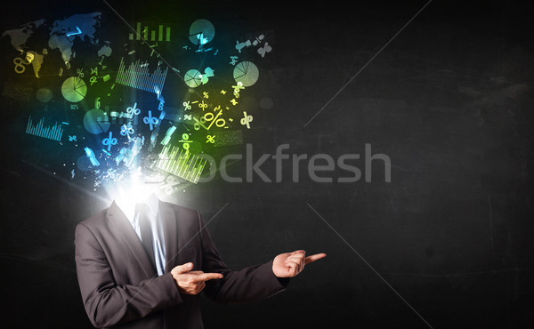 Business man in suit with graph and charts exploding from his bo Stock photo © ra2studio