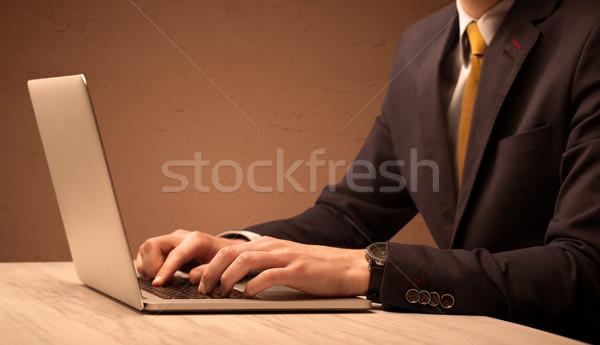 ビジネスマン スーツ 作業 ノートパソコン 事務員 エレガントな ストックフォト © ra2studio
