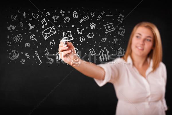 Fiatal nő rajz ikonok szimbólumok fehér nő Stock fotó © ra2studio