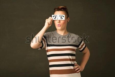 Stupido guardando occhi carta Foto d'archivio © ra2studio
