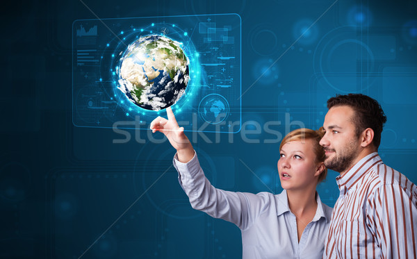 Aanraken 3D aarde paneel gelukkig Stockfoto © ra2studio