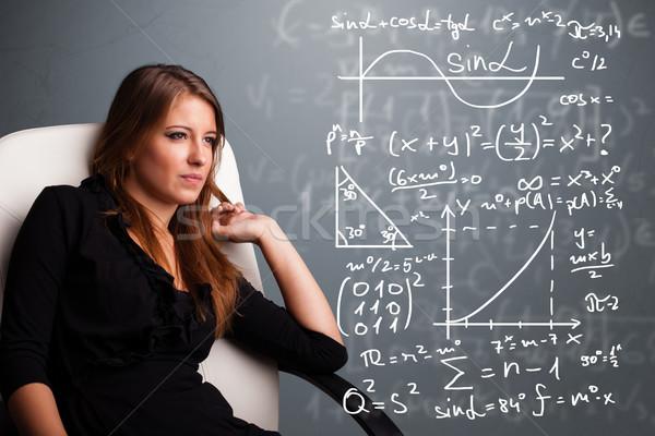 Belle pense complexe mathématique signes Photo stock © ra2studio