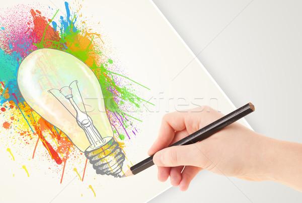 Hand tekening papier kleurrijk splatter gloeilamp Stockfoto © ra2studio