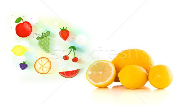 Foto stock: Colorido · frutas · dibujado · a · mano · ilustrado · blanco · alimentos