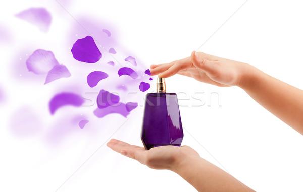 woman hands spraying rose petals Stock photo © ra2studio