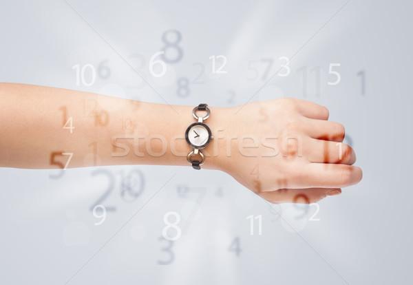 Foto stock: Mão · ver · números · lado · fora · negócio