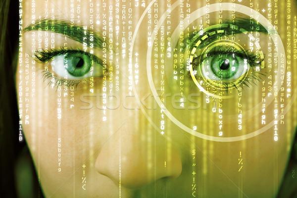 Nowoczesne kobieta matrycy oka medycznych technologii Zdjęcia stock © ra2studio