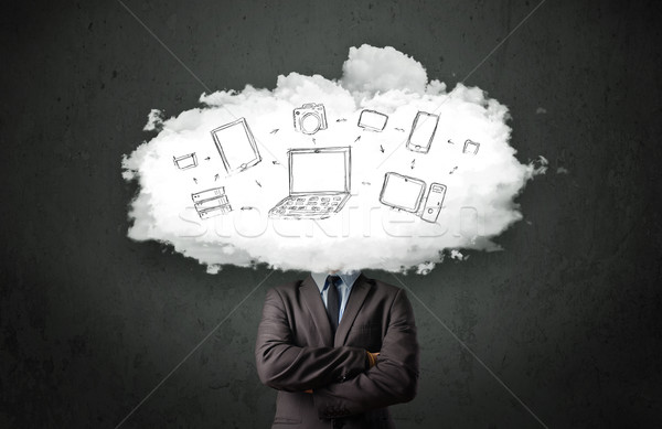 Photo stock: Professionnels · homme · d'affaires · réseau · cloud · tête · internet · technologie