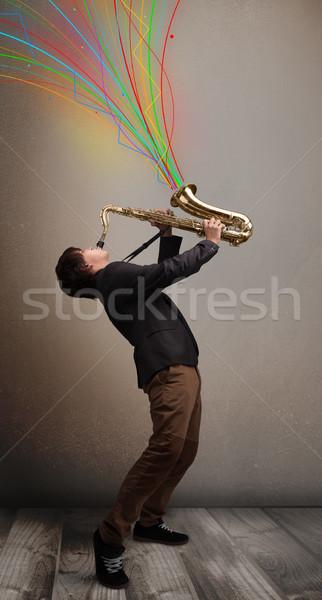 Stockfoto: Aantrekkelijk · muzikant · spelen · saxofoon · kleurrijk · abstract