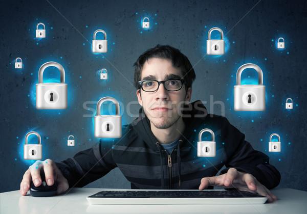 Genç hacker sanal kilitlemek semboller simgeler Stok fotoğraf © ra2studio