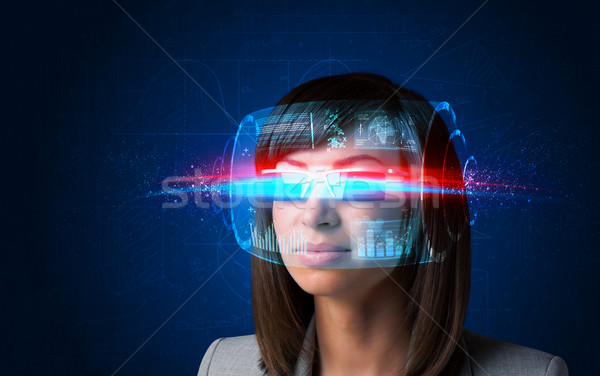 Future woman with high tech smart glasses  Stock photo © ra2studio