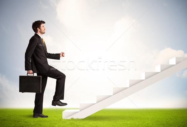 Wspinaczki w górę biały schody charakter Zdjęcia stock © ra2studio