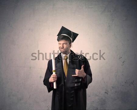Portré fiatal diplomás diák koszos boldog Stock fotó © ra2studio