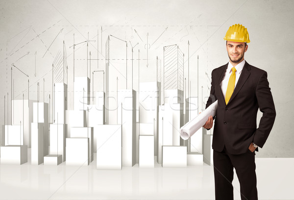 Construction worker planing with 3d buildings in background  Stock photo © ra2studio