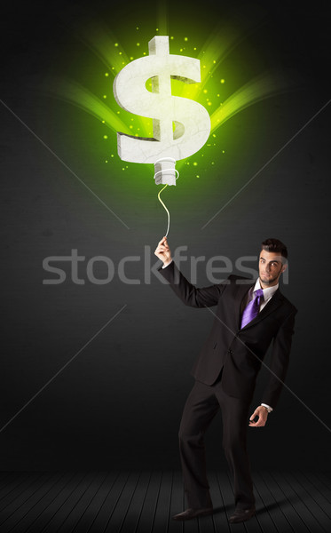 Affaires signe du dollar ballon brillant vert Photo stock © ra2studio