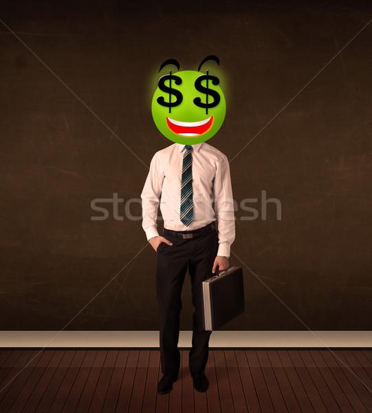 Homme signe du dollar affaires argent sourire Photo stock © ra2studio