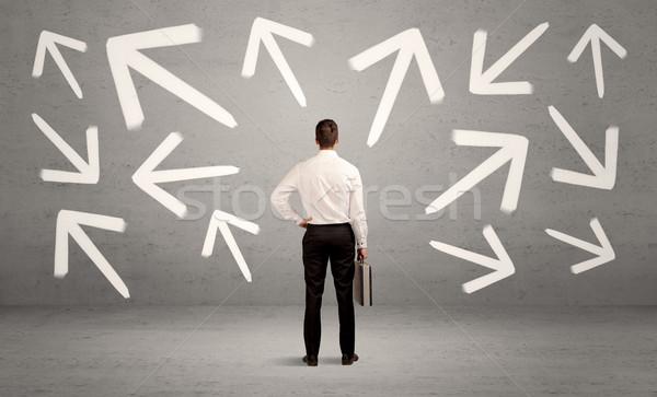 混乱 セールスマン 壁 エレガントな ビジネスマン ストックフォト © ra2studio