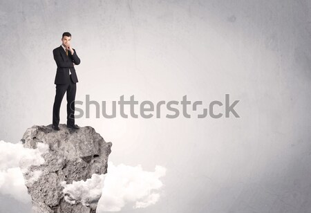 Meilleur vendeur falaise espace heureux réussi Photo stock © ra2studio
