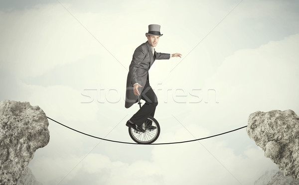 Corajoso homem de negócios equitação ciclo empresário Foto stock © ra2studio