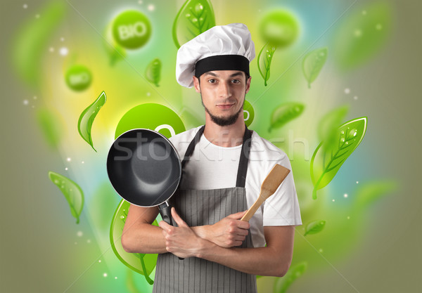 Bio laisse Cook portrait vert cuisine Photo stock © ra2studio
