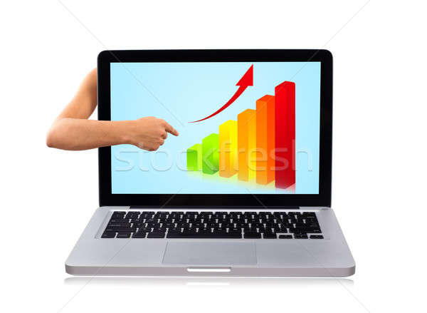 hand pointing to graph in laptop Stock photo © ra2studio