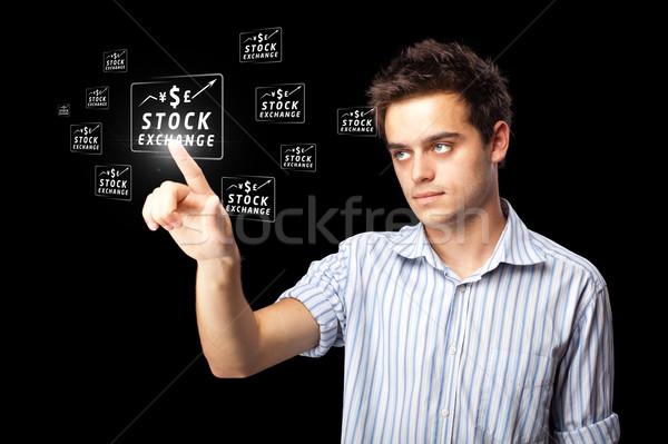 Stock fotó: üzletember · kisajtolás · modern · üzlet · gombok