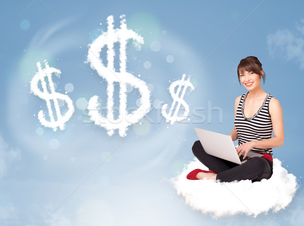 Young woman sitting on cloud next to cloud dollar signs Stock photo © ra2studio