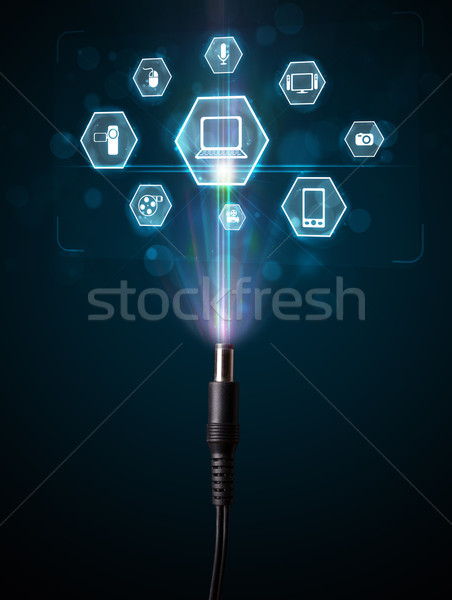 Stockfoto: Elektrische · kabel · multimedia · iconen · uit