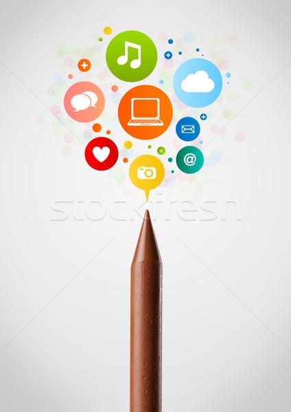 Zsírkréta közelkép közösségi háló ikonok iskola toll Stock fotó © ra2studio