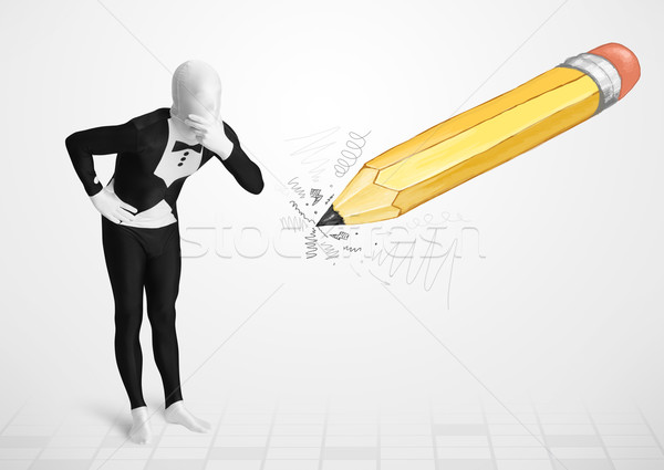 Guy in body mask with a big hand drawn pencil  Stock photo © ra2studio