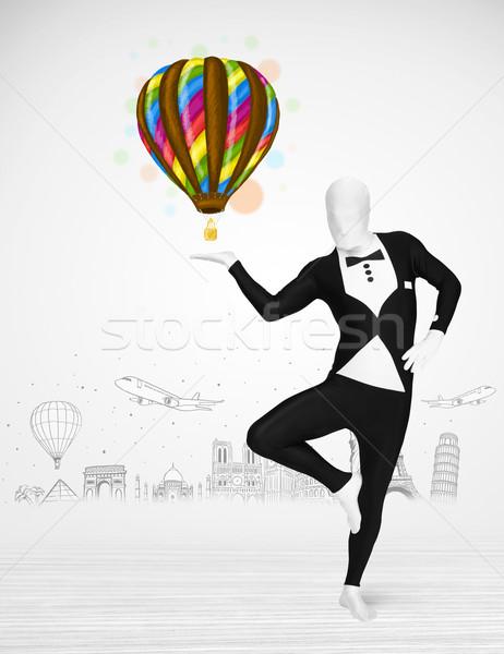 Hombre traje globo funny Foto stock © ra2studio