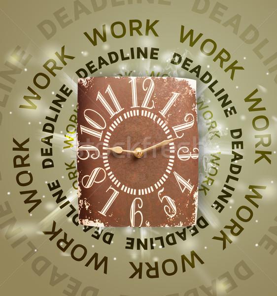 Relojes trabajo fecha tope escrito reunión empresario Foto stock © ra2studio