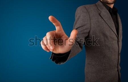 Stockfoto: Vrouw · denkbeeldig · knop · jonge · vrouw · hand