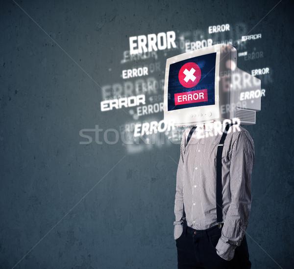 Homem de negócios pc monitor cabeça erro Foto stock © ra2studio