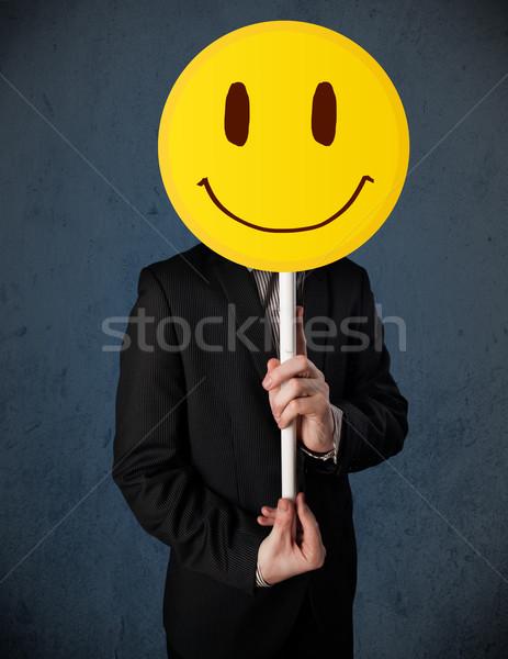 Empresario cara sonriente emoticon amarillo cabeza Foto stock © ra2studio