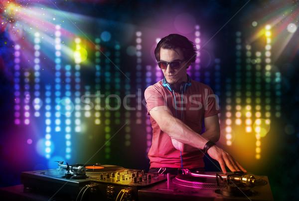 Gry disco świetle pokaż młodych strony Zdjęcia stock © ra2studio