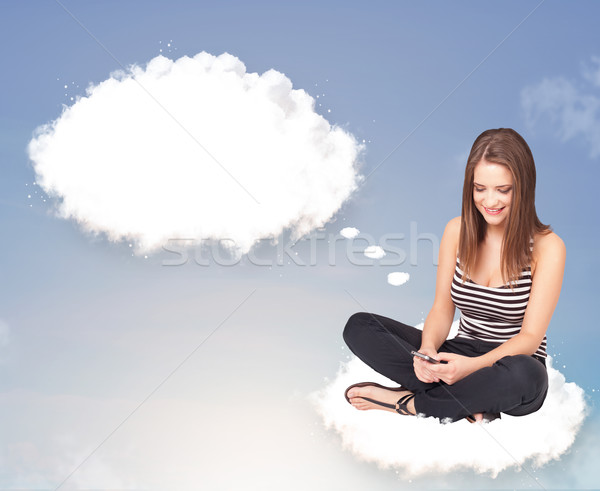Stock photo: Young girl sitting on cloud and thinking of abstract speech bubb